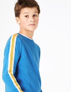 Mavi Şerit Detaylı Yuvarlak Yaka Sweatshirt