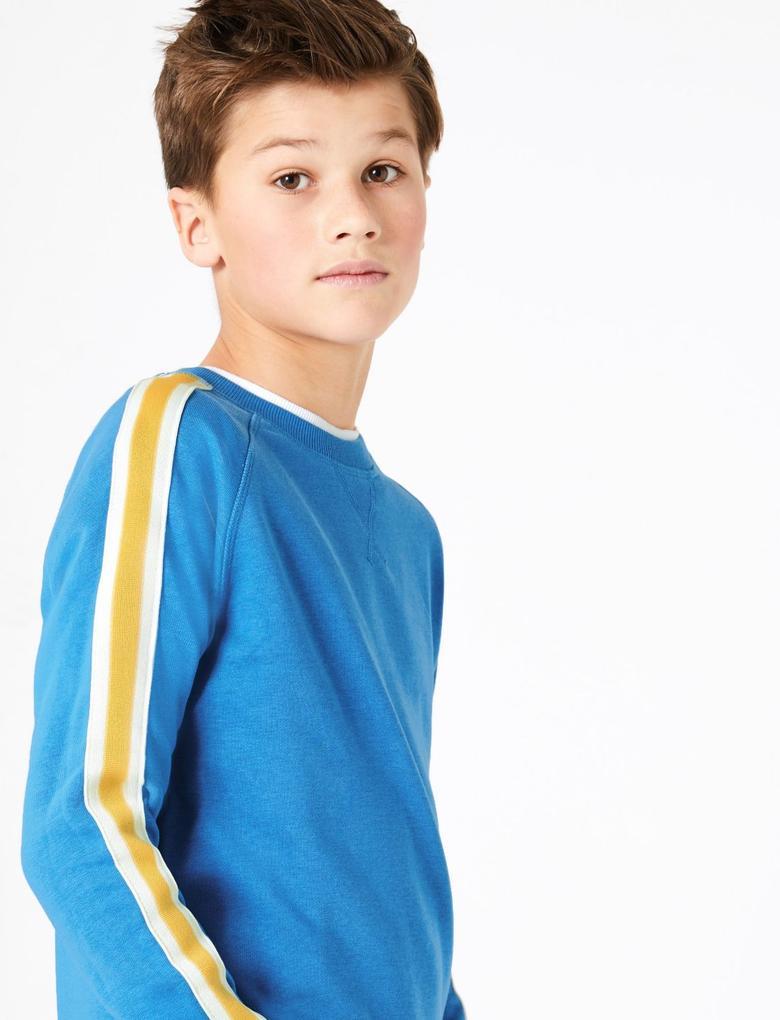 Erkek Çocuk Mavi Şerit Detaylı Yuvarlak Yaka Sweatshirt