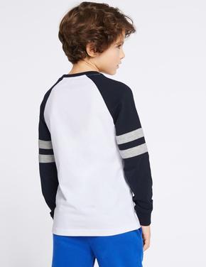 Lacivert Şerit Detaylı Saf Pamuklu T-Shirt