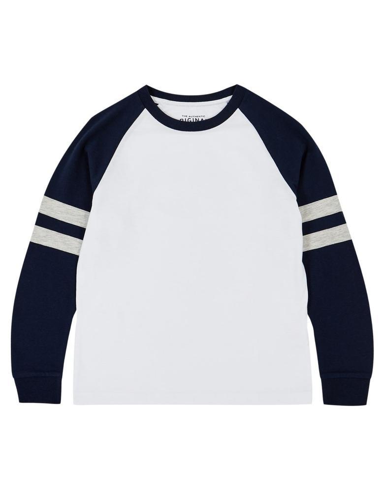 Erkek Çocuk Lacivert Şerit Detaylı Saf Pamuklu T-Shirt