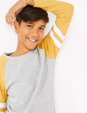 Sarı Şerit Detaylı Saf Pamuklu T-Shirt