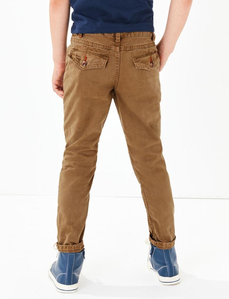 Erkek Çocuk Kahverengi Saf Pamuklu Chino Pantolon