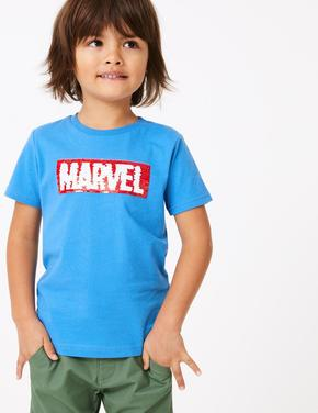 Erkek Çocuk Mavi Marvel™ Pullu İşlemeli T-Shirt