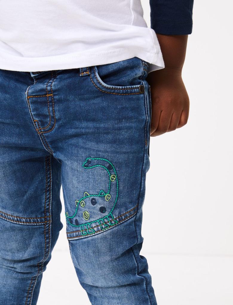 Erkek Çocuk Mavi Dinozor İşlemeli Jean Pantolon