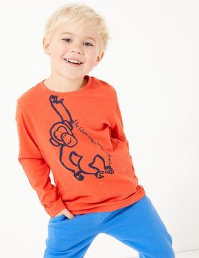 Erkek Çocuk Multi Renk Maymun Desenli T-Shirt
