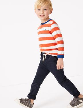 Erkek Çocuk Gri Bağcıklı Kadife Pantolon