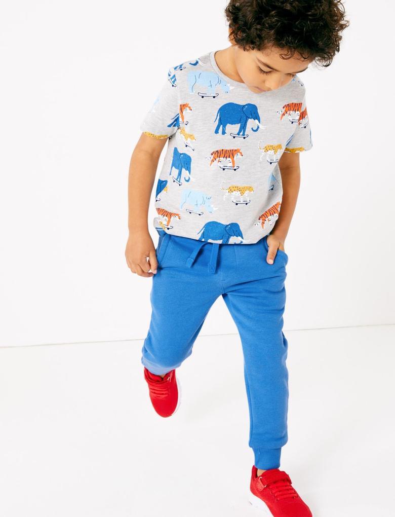 Erkek Çocuk Mavi Pamuklu Eşofman Altı