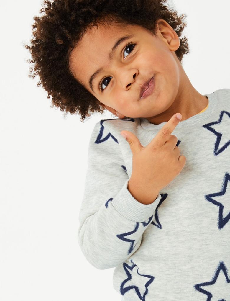 Erkek Çocuk Multi Renk Yıldız Desenli Sweatshirt