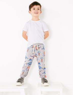 Erkek Çocuk Multi Renk Dinozor ve Palmiye Ağacı Desenli Eşofman Altı