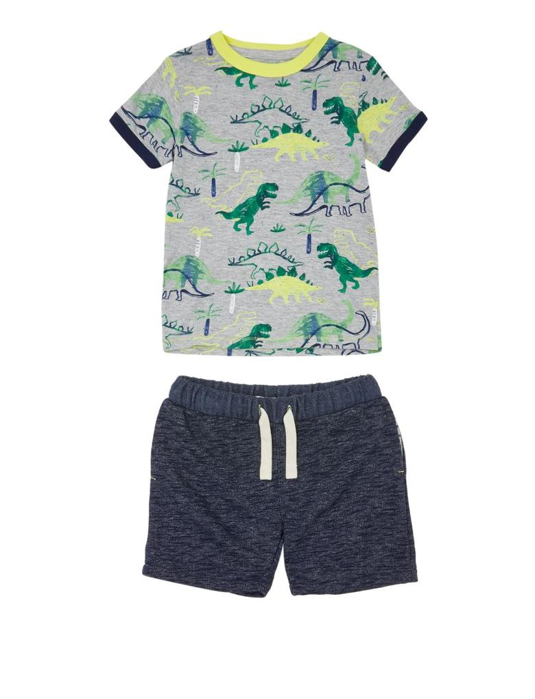 Erkek Çocuk Multi Renk Dinozor Desenli T-Shirt ve Şort Takımı