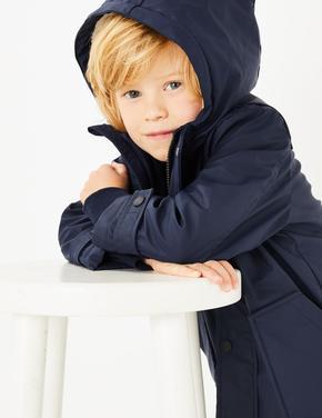 Erkek Çocuk Lacivert Kapüşonlu Balıkçı Montu