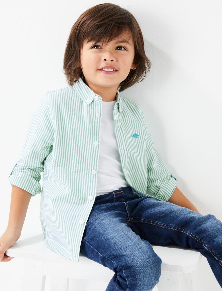 Erkek Çocuk Yeşil Uzun Kollu Çizgili Gömlek