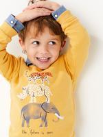 Erkek Çocuk Multi Renk Desenli Yuvarlak Yaka Sweatshirt