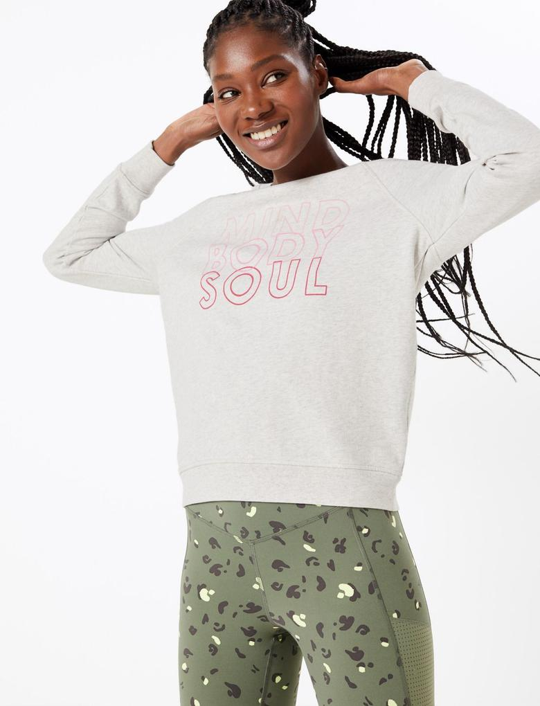 Kadın Bej Saf Pamuklu Sweatshirt