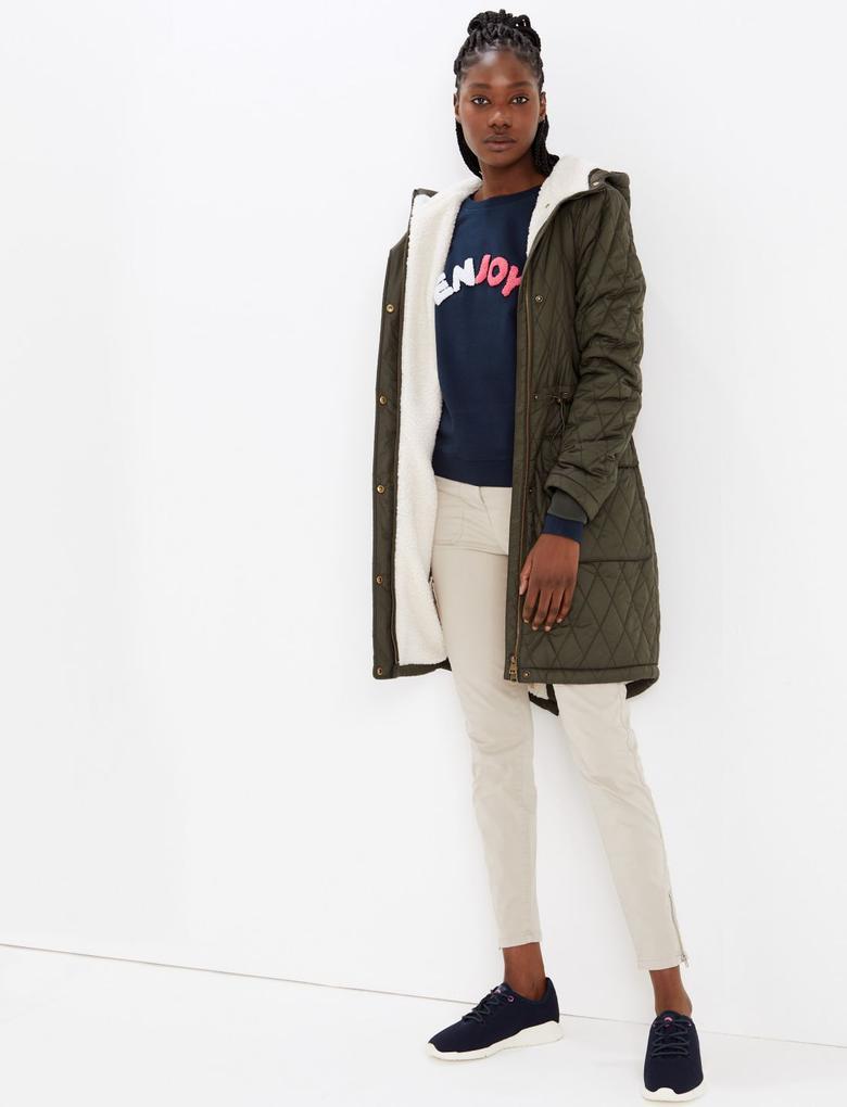 Kadın Lacivert Saf Pamuklu Sweatshirt