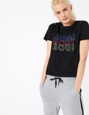 Kadın Siyah Kısa Kollu Straight Fit T-Shirt
