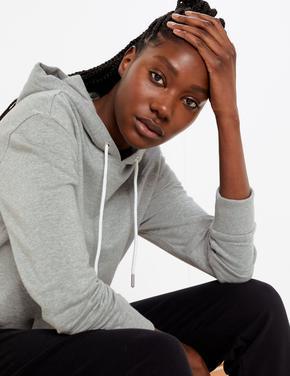 Kadın Gri Saf Pamuklu Kapüşonlu Sweatshirt