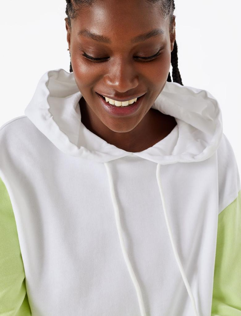 Kadın Sarı Saf Pamuklu Kapüşonlu Sweatshirt