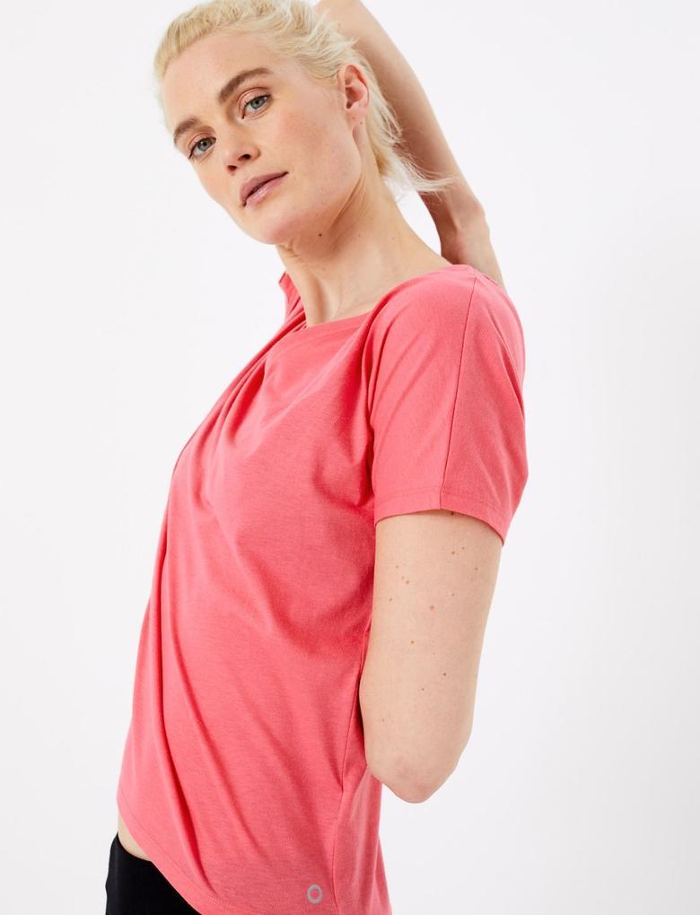 Kadın Pembe Çapraz Sırt Detaylı Yoga T-Shirt