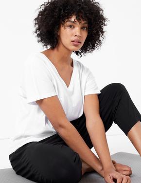 Beyaz Çapraz Sırt Detaylı Yoga T-Shirt