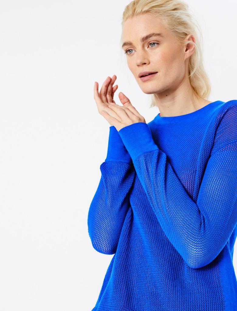 Kadın Lacivert Delikli Triko Sweatshirt