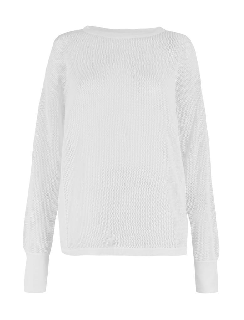 Kadın Beyaz Delikli Triko Sweatshirt