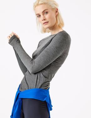 Gri Merinotec Uzun Kollu T-Shirt