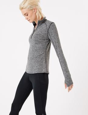 Kadın Gri Yarım Fermuarlı Koşu T-Shirt'ü