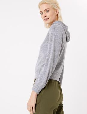 Kadın Gri Yumuşak Dokulu Kapüşonlu Sweatshirt