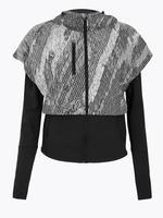 Kadın Siyah Rüzgara karşı Dayanıklı Desenli Ceket