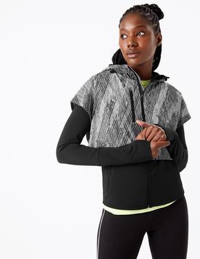 Siyah Rüzgara karşı Dayanıklı Desenli Ceket