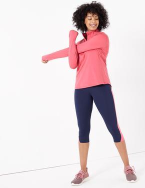 Kadın Pembe Yarım Fermuarlı Koşu T-Shirt