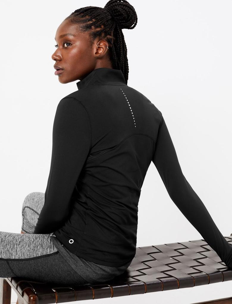 Kadın Siyah Fermuarlı Koşu Sweatshirt'ü