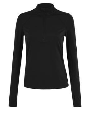 Siyah Yarım Fermuarlı Koşu T-Shirt