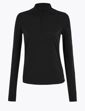 Kadın Siyah Yarım Fermuarlı Koşu T-Shirt