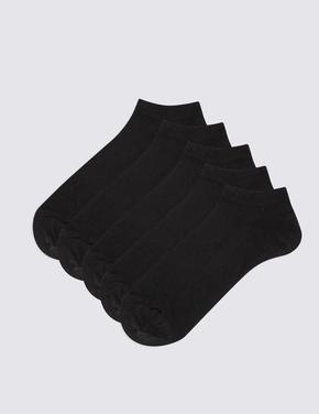 Erkek Siyah 5'li Pamuk Karışımlı Çorap Seti