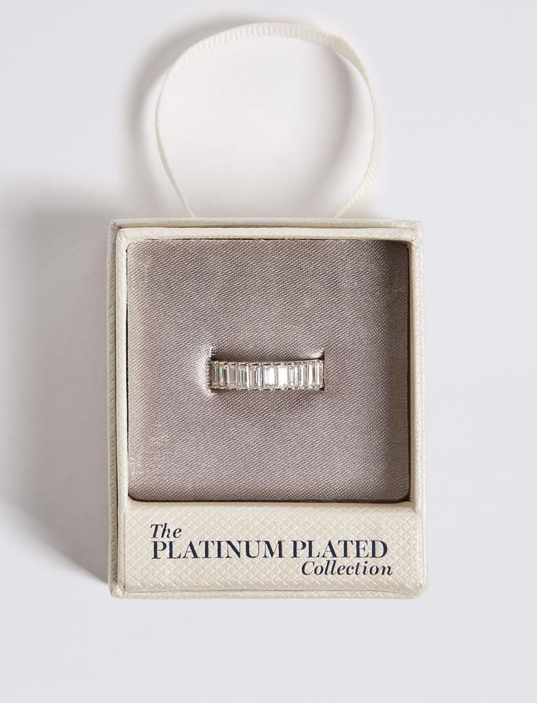 Kadın Metalik Platinum Rengi Taşlı Yüzük