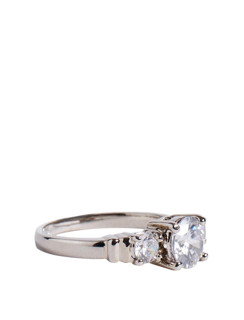 Kadın Beyaz Platinum Rengi 3 Taş Yüzük