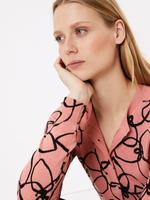 Kadın Pembe Çiçek Desenli Hırka