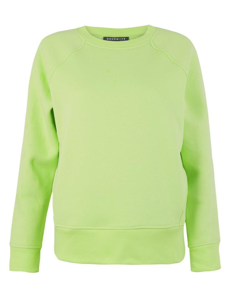 Kadın Sarı Saf Pamuklu Cepli Sweatshirt