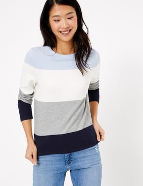 Kadın Mavi Çizgili Saf Pamuklu T-Shirt