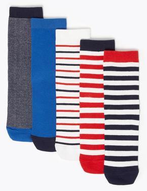 Çocuk Kırmızı 5'li Çizgili Çorap Seti