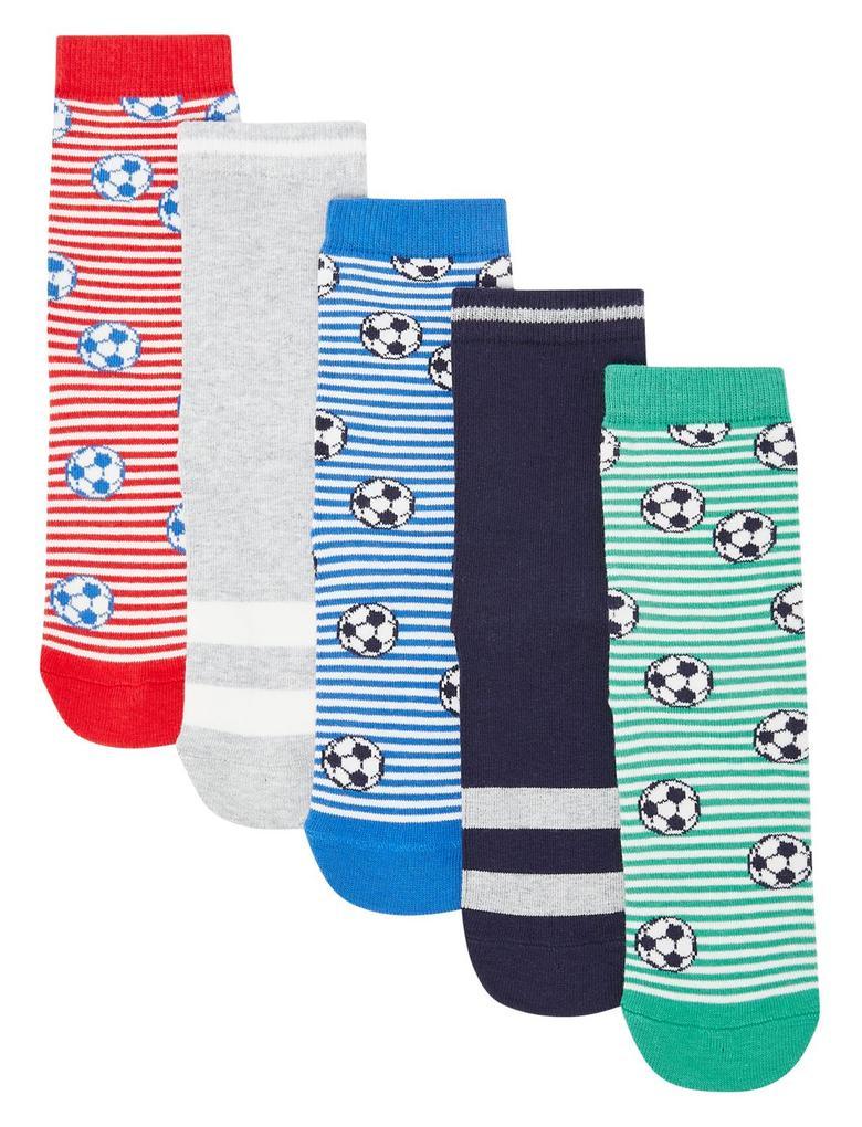 Çocuk Multi Renk 5'li Futbol Temalı Çorap Seti