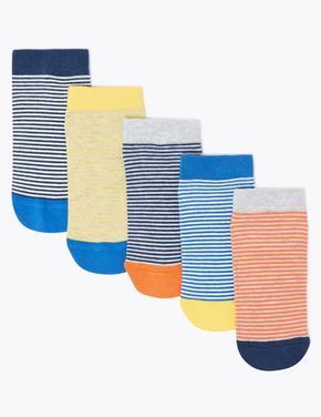 Çocuk Multi Renk 5'li Çizgili Trainer Çorap Seti