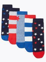 Çocuk Multi Renk 5'li Yıldız Desenli Çorap Seti