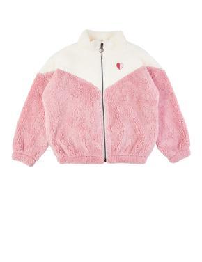 Kız Çocuk Bej Fermuarlı Sweatshirt