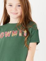Kız Çocuk Yeşil Sloganlı Kısa Kollu T-Shirt