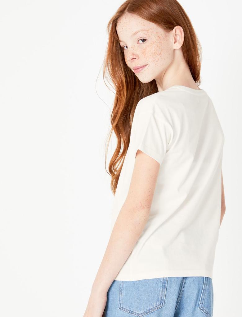 Kız Çocuk Beyaz Unicorn Desenli Kısa Kollu T-Shirt