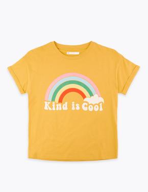 Sarı Sloganlı Kısa Kollu T-Shirt