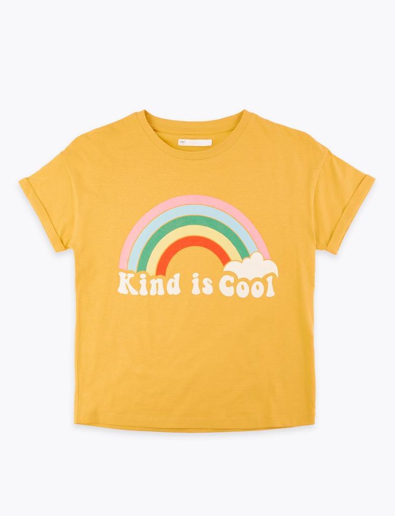 Kız Çocuk Sarı Sloganlı Kısa Kollu T-Shirt